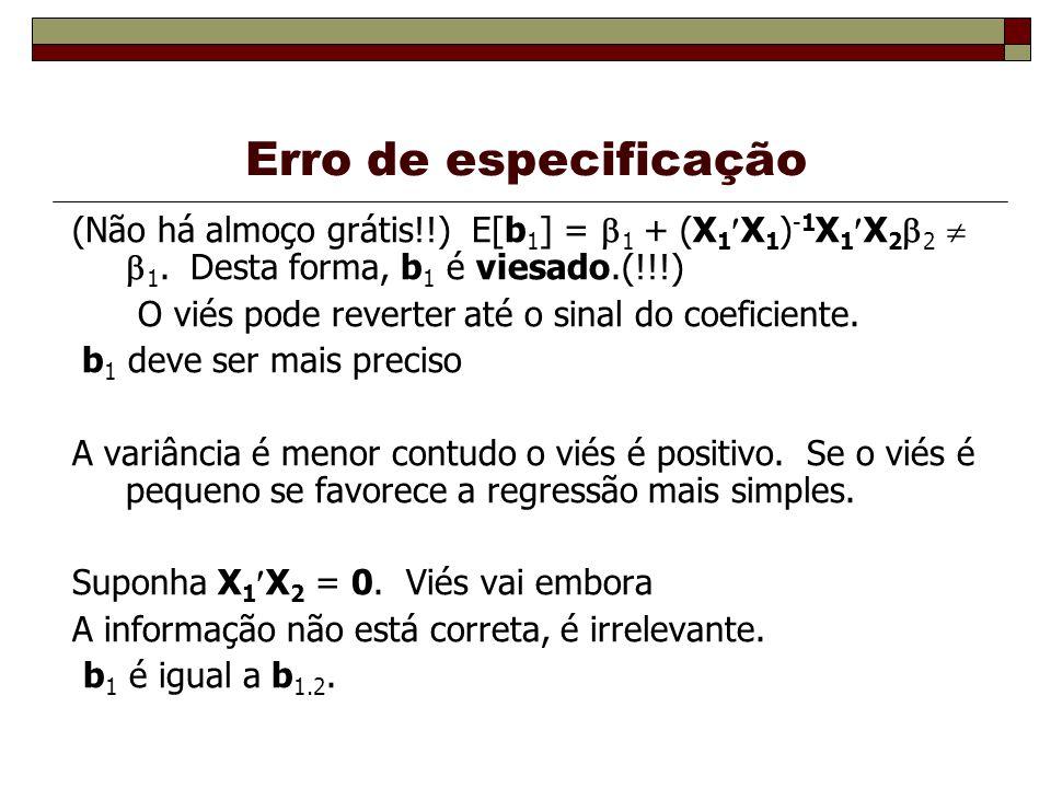 Erro de especificação (Não há almoço grátis!!) E[b1] = 1 + (X1X1)-1X1X22  1. Desta forma, b1 é viesado.(!!!)